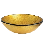 Catania 16-1/2 inch Diameter Round Vessel Glass Sink, Gold