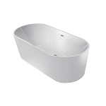 60-Inch Acrylic Freestanding Oval Tub with Overflow and Pop-Up Drain