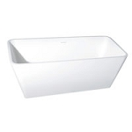 59 Inch Solid Surface White Stone Freestanding Rectangular Tub with Drain