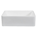 Solid Surface White Stone Single-Bowl Bathroom Sink, Matte White