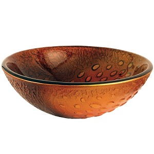 Amber Drops 16-1/2 inch Diameter Round Glass Sink, Copper Amber